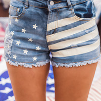 Americana Flag Cut Off Shorts (Light Wash)