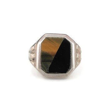 Mexican Sterling Ring, Onyx, Tigers Eye, Mexico 925, Modernist Jewelry, Vintage Ring, Vintage Jewelry, Size 10