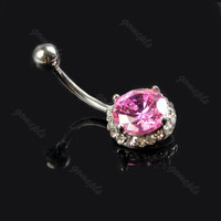 New Charming Dangle Crystal Navel Belly Ring Bling Barbell Button Ring Piercing Body Jewelry = 4804882692