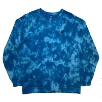 "Nike X Jeffersons Custom Tonal Tie Dye Washed Crewneck ""OCEAN BLUE"""