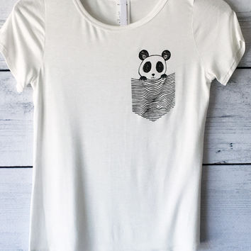 Cute Panda in Pocket Tee in Ivory