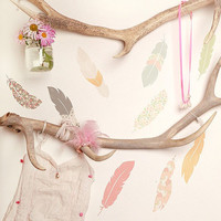 Wall stickers Floating Feathers Reusable and by lovemaestore