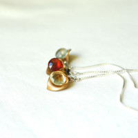 LUMI earrings choose your gem // moss aquamarine, red garnet, lemon topaz, sterling silver ear thread, calla lily brass