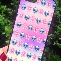 Iphone 4 4S Phone Case Emoji Alien Floral Print Hipster Phone Cover
