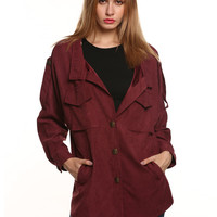 Pointed Flat Collar Double Chest Pocket Buttoned Coat