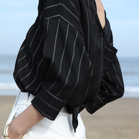 High Low Button Front Striped Blouse