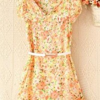 Floral Chiffon Dress with Belt for Women