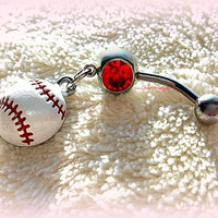 Baseball or Softball Belly Ring, Baseball, Piercing,  Athletic, Athlete, Belly button, Navel, Summer, Beach, Ready to Ship