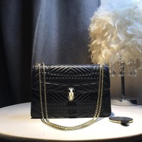 Kuyou Gb39724 Bvlgari Serpenti Forever Leather Black Pochette Double Zip 25¡Á18¡Á7cm