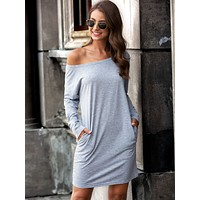 Boat Neck Slant Pocket Tee Dress