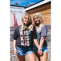 Kiss Distressed Graphic Tee, Black