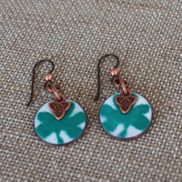 Shamrock and Celtic Trinity Knot Earrings, Copper Enameled on Pennies, Celtic Knot Charm, Niobium