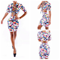 Abstract Printed Lace Long Sleeve Cropped Top and Mini Skirt Set