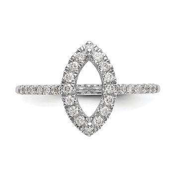 1/3 Ct. Natural Marquise Cut Diamond Semi-mount Engagement Ring in 14K White Gold