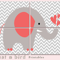 Elephant art print, chevron nursery, chevron elephant ,Set of four prints, Nursery art quad, Grey chevron - INSTANT DOWNLOAD