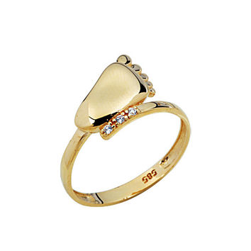 Foot Design 14k Solid Gold Ring Human Feet Ring Step Ring Baby Foot Perfect Gift for Mother