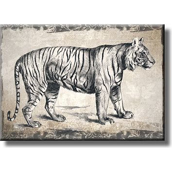 Vintage Tiger Picture on Stretched Canvas, Wall Art Décor, Ready to Hang