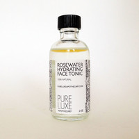 Rosewater Hydrating Face Tonic, Valentine's Day Gift, Toner, Softening, Aloe, Witch hazel, Alcohol-free, Hydrating, 100% Natural.