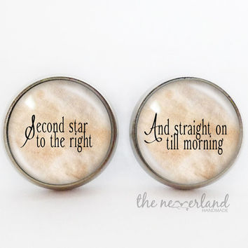 Personalized stud earrings, Peter Pan jewellery, glass cabochon, gift woman