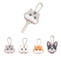 Lychee  Cute Mouse French Bulldog Shape PVC Key Cover Cap Key Chain Rubber Key Ring