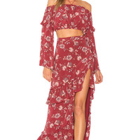 ale by alessandra Laudine Maxi Skirt in Garnet Floral | REVOLVE