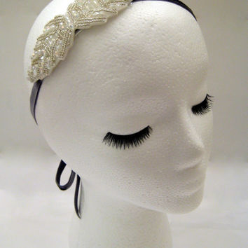 The Marie - Art deco headpiece, prom headband, 20s hair accessories, Gatsby headband, bow headband, champagne color headband