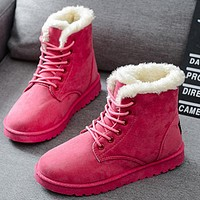 Short tube ugg boots new leather boots to keep warm cotton shoes with flat and velvet short ugg boots
