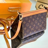 Louis Vuitton cosmetic bag zipper handbag with long shoulder strap Three-dimensional  triangle bag coffee