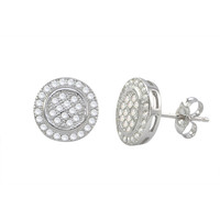 Micropave Earrings 925 Sterling Silver Circle with Circle Frame 11mm x 11mm