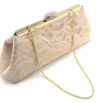 Champagne and Emerald Green Bridal Clutch