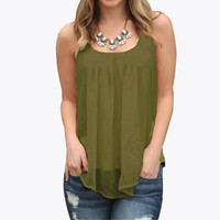 New Arrival 2016 Women Chiffon Summer Style Tank Spaghetti Strap Casual Loose Sleeveless Shirt Tops Female Solid Vest