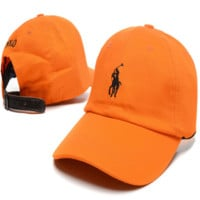 Orange Polo Embroidered Unisex Adjustable Cotton Sports Cap Hat