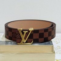 LV tide brand men and women classic old flower checkerboard smooth buckle belt Coffee check