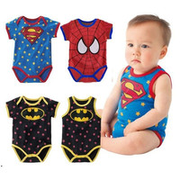 newborn baby boy clothes 215 Summer new born baby clothing Cute cartoon spiderman Superman = 1946528004