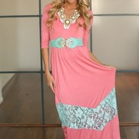 MVB Pink/Coral and Mint 3/4 Lace Dress