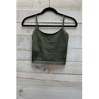 Low Back Cropped Cami- Olive