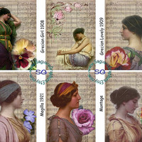Past Music Ladies Art - 2.5x3.5 inch ATC Cards, ACEO, Gift Tags, Jewelry Earrings Card Holders, Wedding Projects, Arts & Crafts