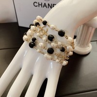 HCXX 19Sep 892 Fashion Classic Black and white beads multi-layer bracelet