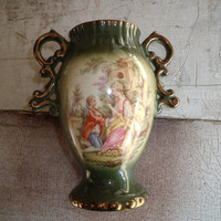 Vintage Ornate Old Courtware Staffordshire Transferware Vase With People Scenes 1930s