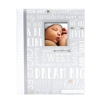 Lil Peach First 5 Years Dream Big Wordplay Baby Memory Book, Memory Journal, Gray Gray Wordplay