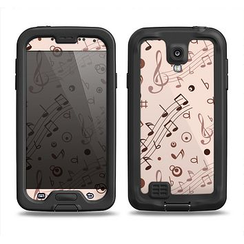 The Tan Music Note Pattern Samsung Galaxy S4 LifeProof Nuud Case Skin Set