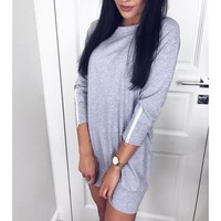 Women Sweatshirt Dress Autumn Zipper Sleeves Casual Dress Solid Tracksuit Hoodies Dress Harajuku Party Dresses Vestidos Ws9606T