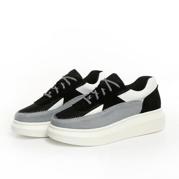 Summer Stylish Height Increase Slim Leather Permeable Shoes [6544813955]