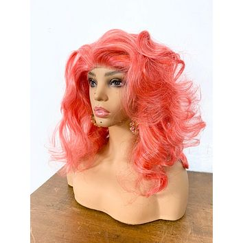 """Luxury lace front wig WATERMELON PINK 10"""" wavy soft hair    Human hair blend 13x2multi parting    820 #26 fabulous"""