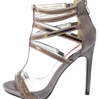 OLIVE33 PEWTER SILVER IRIDESCENT T-STRAP HEEL