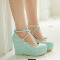 Round head candy color high heels
