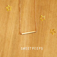 Gold Plated Tiny Bar Necklace