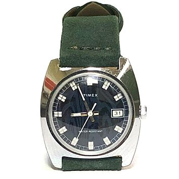 Vintage 1976 Timex Blue & Green Automatic Watch