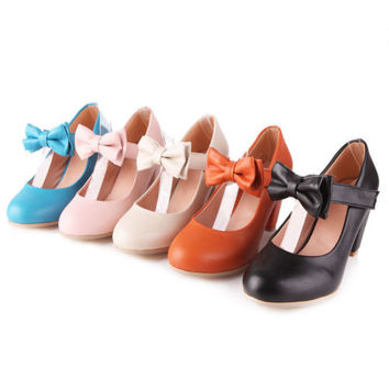 Womens Sweet Candy Color Mary Janes Pumps Heel Lolita Bowknot Shoes Plus Size