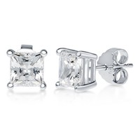 Sterling Silver with Princess Swarovski Zirconia Solitaire EarringsBe the first to write a reviewSKU# E1062-SW01-6